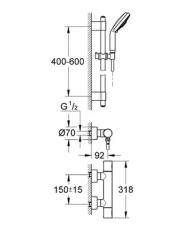 Grohe GRT 3000 Cosmopolitan termostat batt bruser udv +bruse