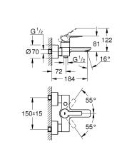 Lineare Etgrebsbatteri til kar & brus DN 15