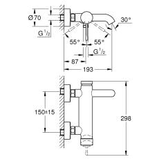 Essence Etgrebsbatteri til kar & brus, DN 15 vægmontage