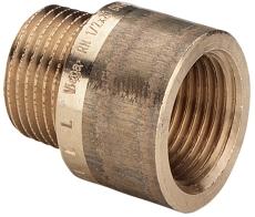 "3/8"" x 15 mm Rødgods Silicium Bronze gevindfittings forlænge"