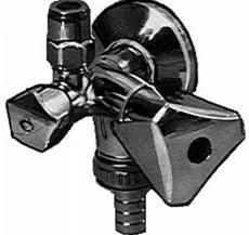 "1/2"" x 10 mm Ventil m/aftap højre m/studs"