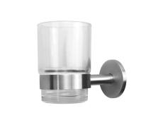 Glasholder med Glas , matbørstet rustfrit stål