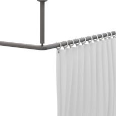 Bruseforhængsstang m/ringe, 120x120 cm, hvid