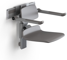 Pressalit Plus brusesæde 450, højde/side regulérbart,antraci
