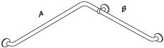 Pressalit Plus håndgrebshjørne, 762x475 mm, hvid