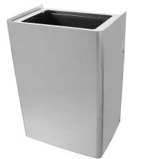 Affaldskurv, væghængt, børstet rustfrit stål