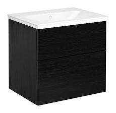 Artic møbelsæt 60 cm med 2 skuffer sort eg, vask med 1 haneh