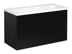 Artic møbelsæt 100 cm med 2 skuffer sort eg, vask med 1 hane