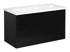 Artic møbelsæt 100 cm med 2 skuffer sort eg, vask med 2 hane