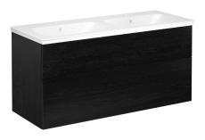 Artic møbelsæt 120 cm med 4 skuffer sort eg, dobbeltvask
