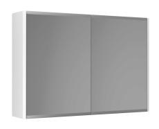 Graphic Spejlskab 80x55x16 cm hvid dobbeltsidet spejl 2 hyld