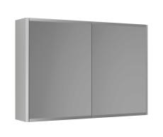 Graphic Spejlskab 80x55x16 cm grå dobbeltsidet spejl 2 hylde