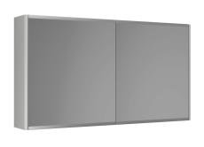 Graphic Spejlskab 100x55x16 cm grå dobbeltsidet spejl 2 hyld