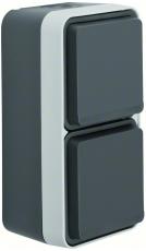 Berker Stikkontakt Schuko dobbelt lodret komplet grå W.1 IP5