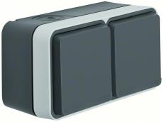 Berker Stikkontakt Schuko dobb vandr kompl grå W.1 IP55, 2 i