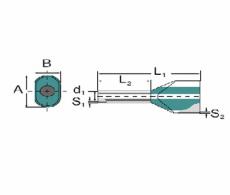 Tylle Isolerede dobbelt 2,50 mm² blå H2,5/19D (50) (W)