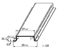 Dinskinne TS 35x7,5 mm uden hul