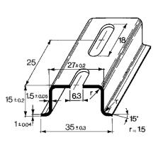 Dinskinne TS 35x15 mm med hul
