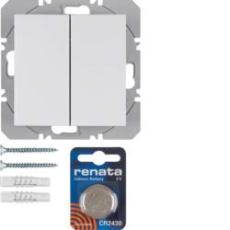 KNX/ql dobbelt trådløst tryk med batteri s.1., hvid