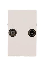 TD212E Sløjfedåse afgrening, TV/Radio, hvid, til FUGA 50x77