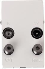 TD253E Slutdåse TV/Radio/Sat/Retur hvid, til FUGA 50x77