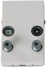 TD254E Slutdåse TV/Radio/Sat/DAB hvid, til FUGA 50x77