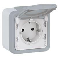 Plexo stikkontakt 1xSchuko med underlag, grå, IP55