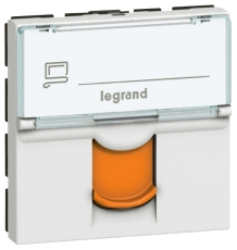 Mosaic Dataudtag Kat.6A STP 2M Hvid med Orange Klap