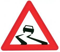 Advarselstavle, glat vej