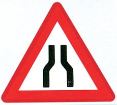 Advarselstavle, indsnævret kørebane