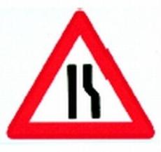 Advarselstavle, indsnævret højre kørebane