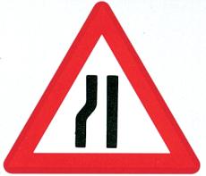 Advarselstavle, indsnævret venstre kørebane