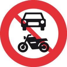 Forbudstavle, motorkørsel forbudt