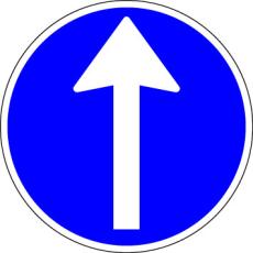 Påbudstavle, påbudt kørselsretning