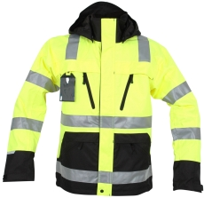 Abeko åndbar regnjakke, model ÅBO, gul/sort, EN 20471, kl. 3