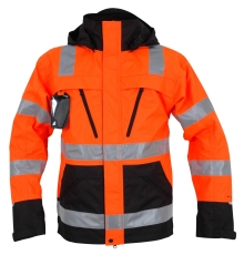 Abeko åndbar regnjakke, ÅBO, orange/sort, EN20471, kl.3, str
