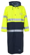 Abeko HI-VIS regnfrakke med hætte, EN20471, gul/navy, KL.3,