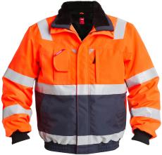 FE Engel pilotjakke 1172, EN 20471 orange/marine, str. L