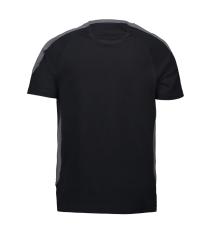 ID PRO Wear T-shirt med kontrast farve, 0302 sort str. S