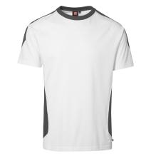 ID PRO Wear T-shirt med kontrastfarve, 0302 hvid, str. S