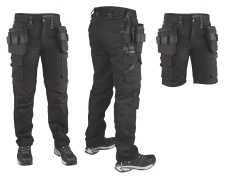 Dunderdon Canvas ZIP-OFF buks P7, 100 % bomuld, sort W32/L34