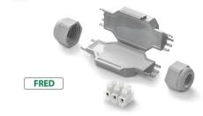 Raytech Samledåse med gel 80x36x23 mm, med klemme 3x2,5 mm²