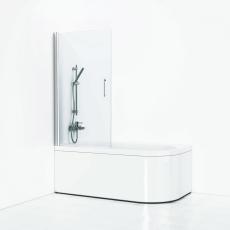 Delta skærmvæg badekar 85, alu mat/klart glas.