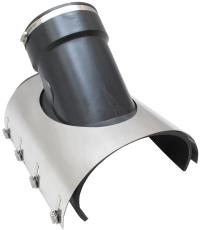 Ibeco 200-395 x 160 mm 45 gr. sadelgrenrør med spændebånd